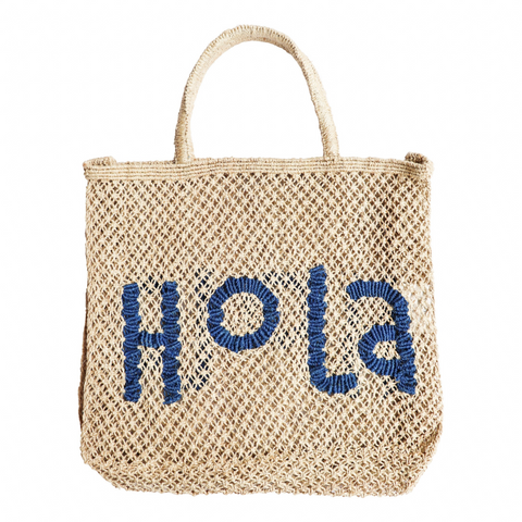 The Jacksons Hola Jute Tote Bag - Large - Natural with Cobalt