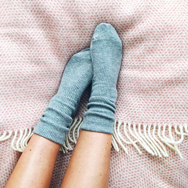 Cashmere Womens Socks - Light Grey Marl
