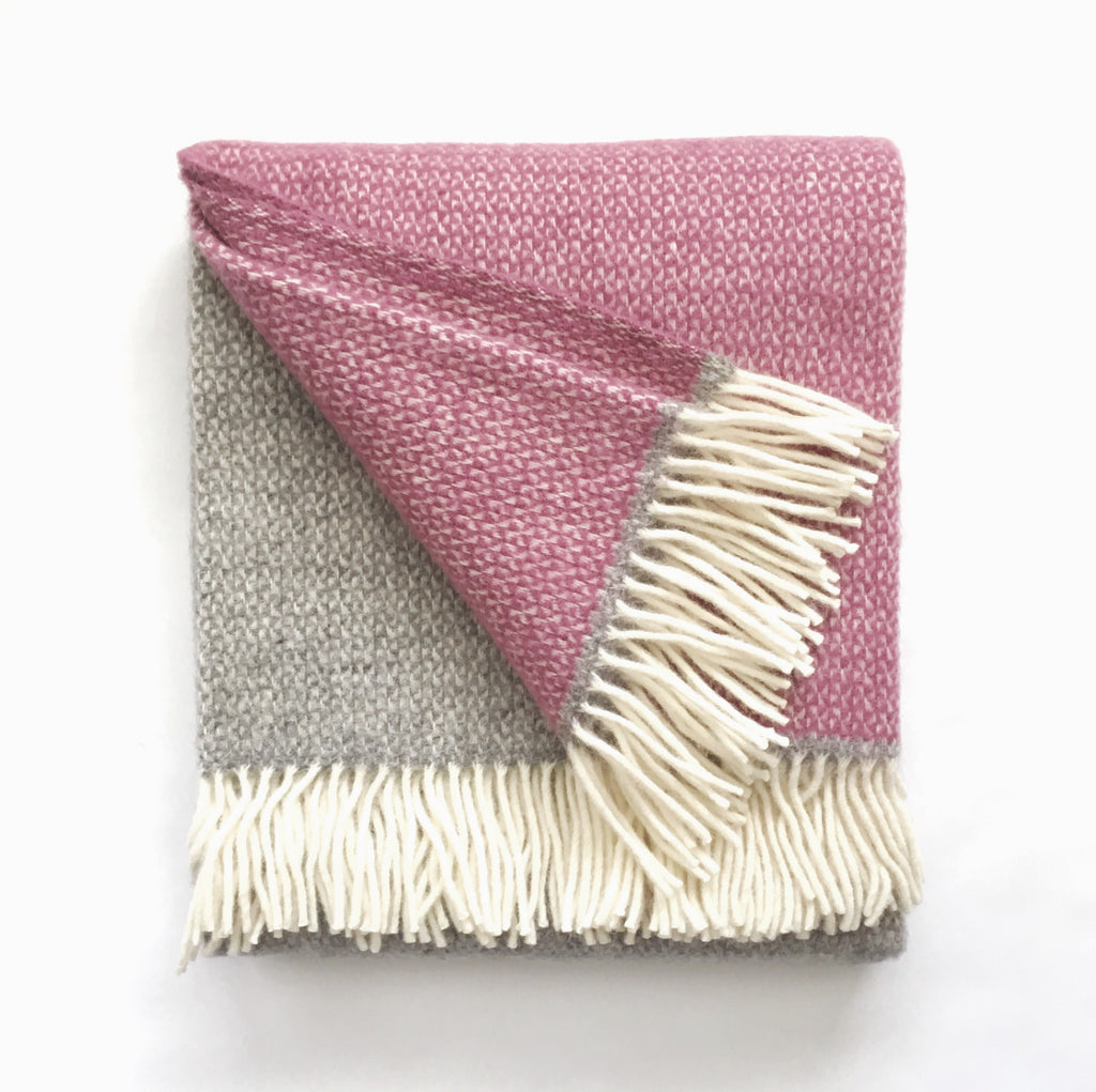 Wool Wide Stripe Throw - Mid Grey Marl / Berry