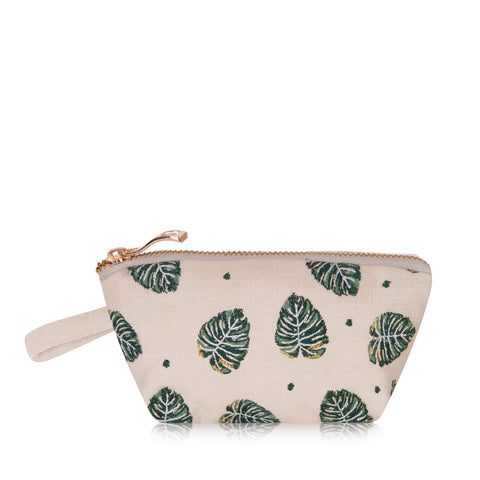Elizabeth Scarlett Jungle Leaf Mini Pouch - Natural