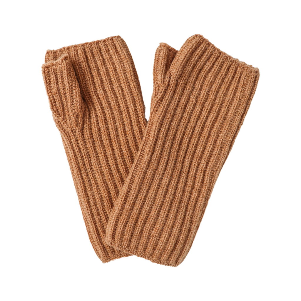 Ribbed Cashmere Wrist Warmers - Camel