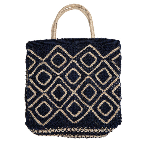 The Jacksons Ingrid jute tote bag - Large size 44cm x 42cm - indigo blue with Natural in a diamond design with natural jute handles.