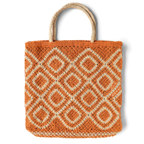 The Jacksons Ingrid jute tote bag - Large size 44cm x 42cm - Orange with Natural in a diamond design with natural jute handles.