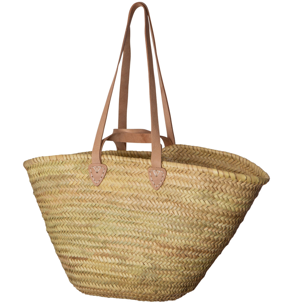 Long Leather Handle Straw Basket