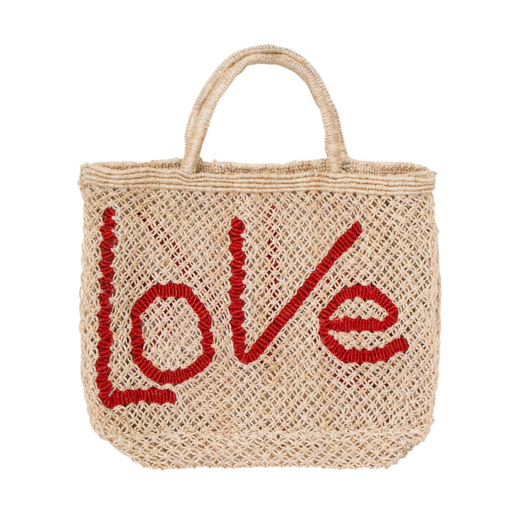 The Jacksons Love Jute Tote Bag - Natural with Red