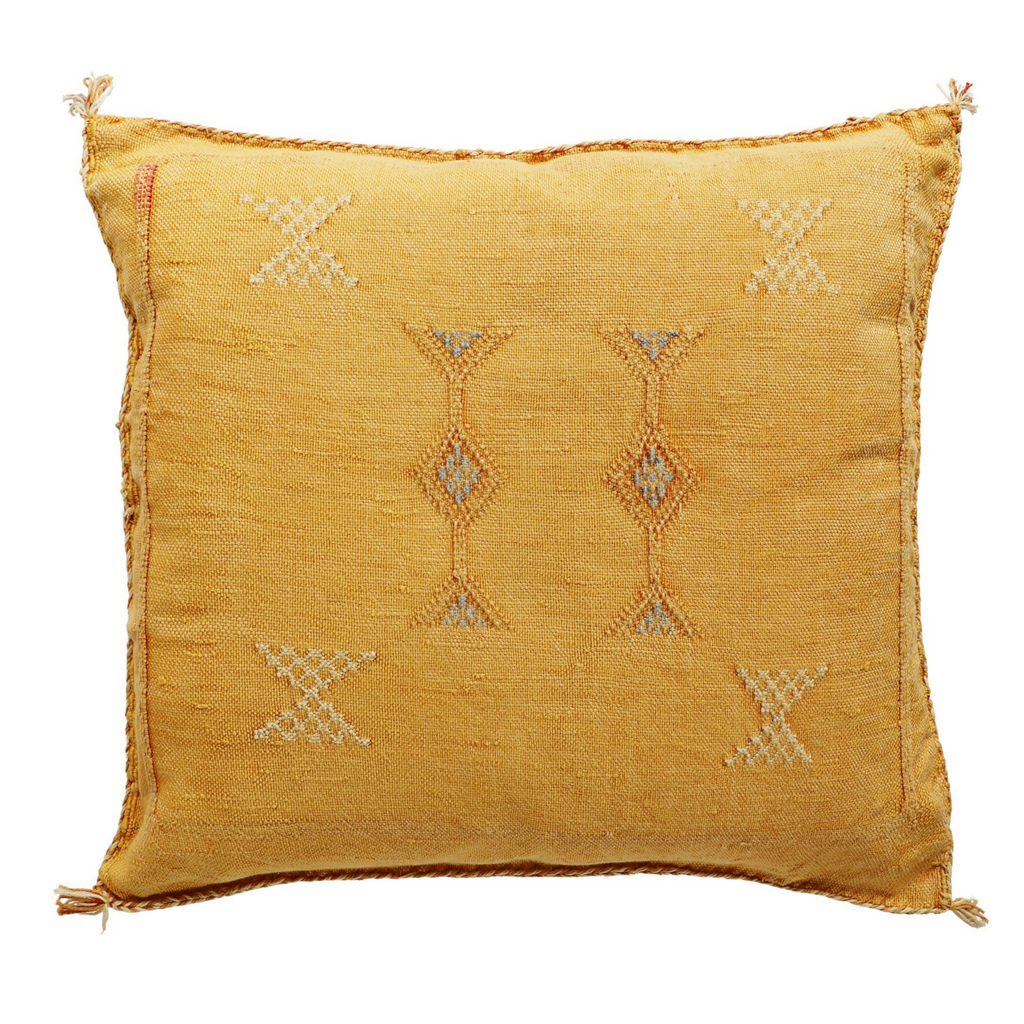 moroccan cactus silk sabra cushion cover - mustard