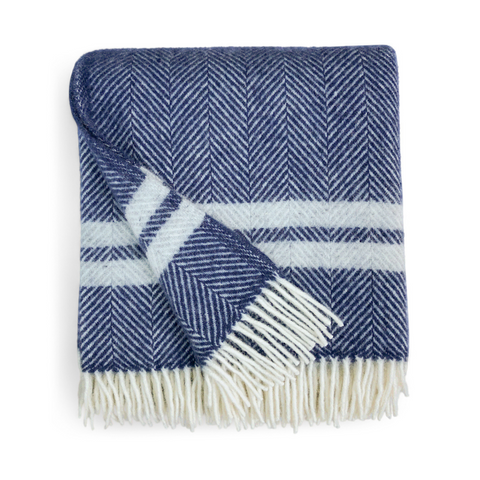 Herringbone Wool Throw - Navy Blue / Grey Stripe