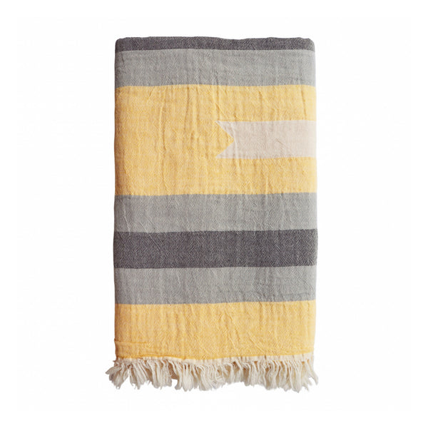 Nomad Hammam Towel - Saffron and grey