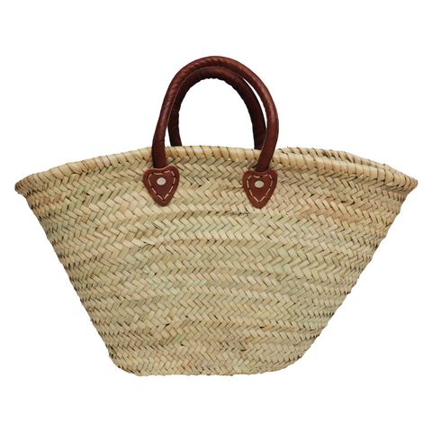 Moroccan palm leaf basket bag with soft leather handles