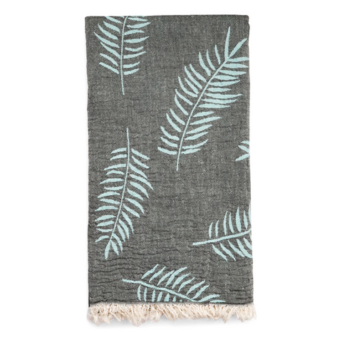 Palm Hammam Towel - Grey/Sea Blue