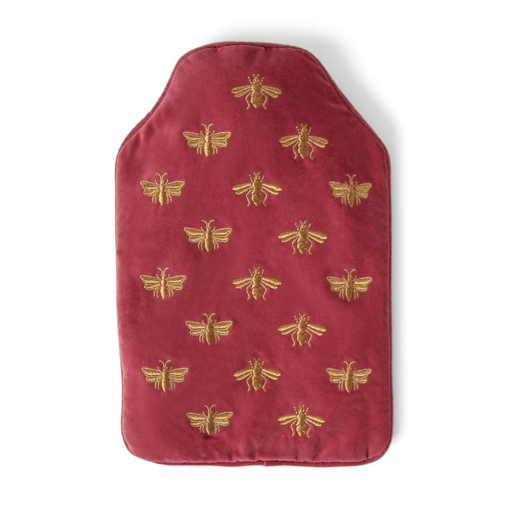 Elizabeth Scarlett Bee Velvet Hot Water Bottle - Dusky Pink