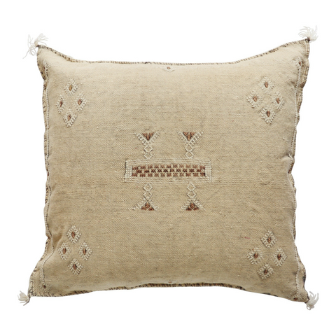 moroccan cactus silk sabra cushion cover - sand