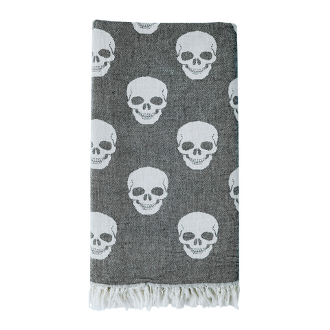 Skull Hammam Towel - Washed Charcoal