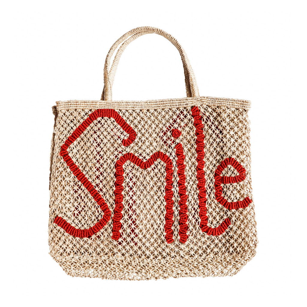 The Jacksons Smile Jute Tote Bag - Natural with Red