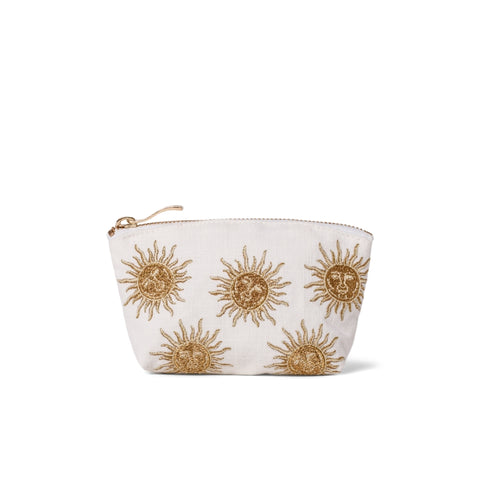 Elizabeth Scarlett Sun Goddess White Coin Purse - a white cotton purse with suns embroidered in gold thread and finished with a gold zip fastening.