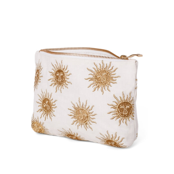 Side view of Elizabeth Scarlett White Sun Goddess makeup bag - a white cotton pouch embroidered with a gold sun design. Finished with a gold zip.