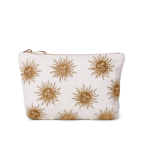 Elizabeth Scarlett White Sun Goddess makeup bag - a white cotton pouch embroidered with a gold sun design. Finished with a gold zip.