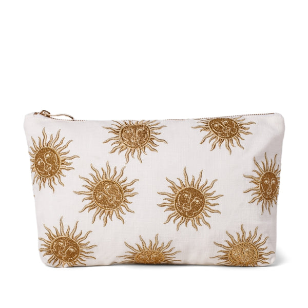 Elizabeth Scarlett White Sun Goddess Everyday Pouch - a white cotton pouch embroidered with a gold sun design. Finished with a gold zip.