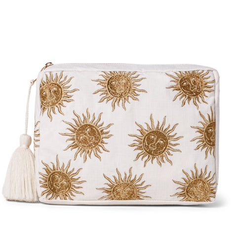 Elizabeth Scarlett White Sun Goddess wash bag - white cotton rectangular wash bag, with a sun design embroidered in gold thread, white tassel, gold zip and PVC waterproof lining.