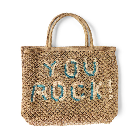 The Jacksons You Rock jute tote bag - Small size 44cm x 33cm - Khaki base colour with the words you rock! in natural and ocean blue colours, with jute handles.