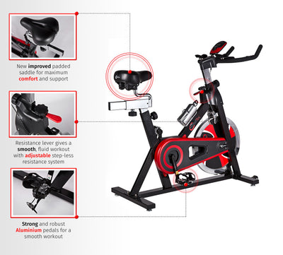 Premium Indoor Cycle Studio Exercise Bike with 22kg Flywheel