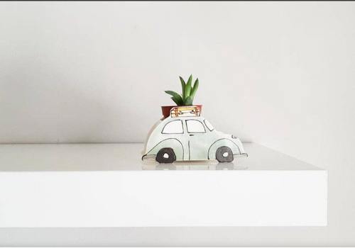 Green Vintage VW Bugs Ceramic Planter
