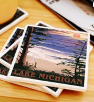 Lake Michigan - Sunset on Beach Ceramic Coasters