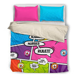 Comic Nurse Duvet Set Black & Beige