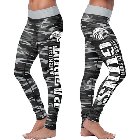 American Patriot Black Camo Guns Leggings