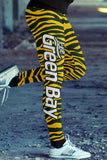 Green Bay Football Striped Leggings