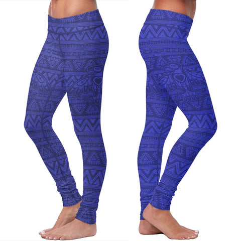Blue Native Bird Pattern Leggings