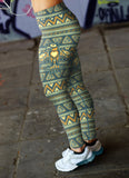 Blue and Orange Native Bird Pattern Leggings