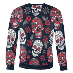 Red and Navy Sugar Skull Sweatshirt