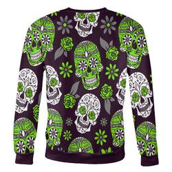 Light Green and Purple Sugar Skull Sweatshirt