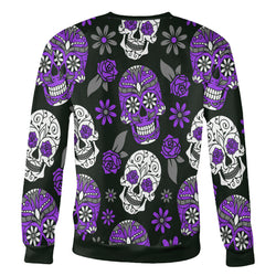 Purple and Dark Green Sugar Skull Sweatshirt