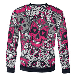 Pink and White Sugar Skull Sweatshirt