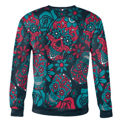 Blue and Red Sugar Skull Sweatshirt