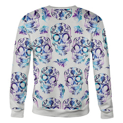 White and Purple Sugar Skull Sweatshirt