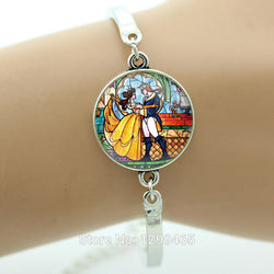 Prince and Princess Style Beauty And The Beast  Glass Cabochon Bracelet