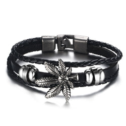 Mens Marijuana Leaf Accent Pot Leaf Bohemian Black Leather Bracelet