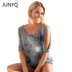 Slit Sleeve Cold Shoulder Feather Print Women Casual Summer T Shirt