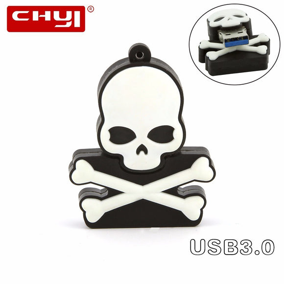 CHYI Creative Skull USB3.0 Flash Drives 8GB 16GB 32GB 64GB Pendrive Personalizado Memory Stick Pen Drive U Disk Halloween Gift
