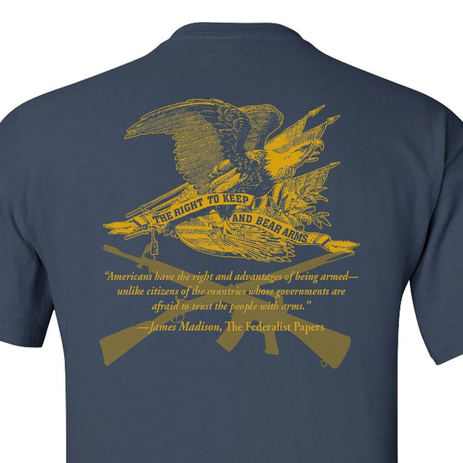 Right to Bear Arms Blue and Gold T-Shirt