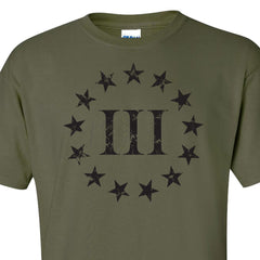 Three Percenter Front Print - Military Green