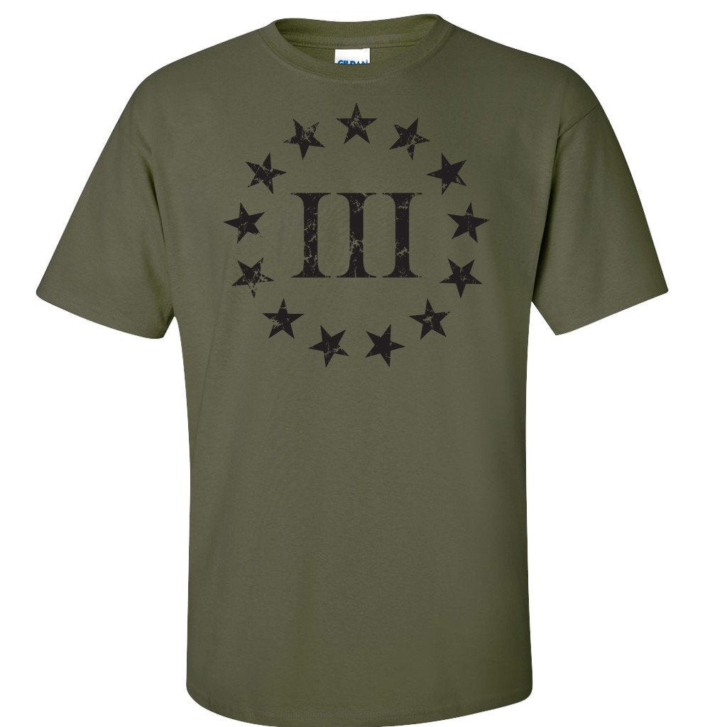 Three Percenter Front Print - Military Green T-Shirt