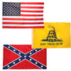 USA-Gadsden-Confederate Poly 3 Flag Set