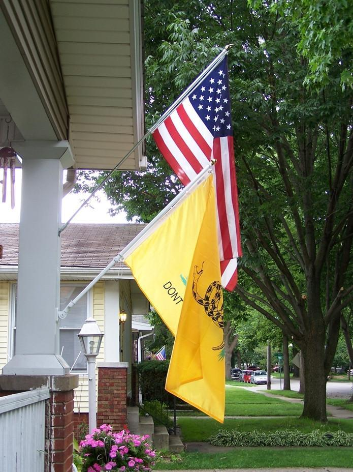 "2x3Ft Embroidered USA & 12""x18"" Gadsden Flag Combo"