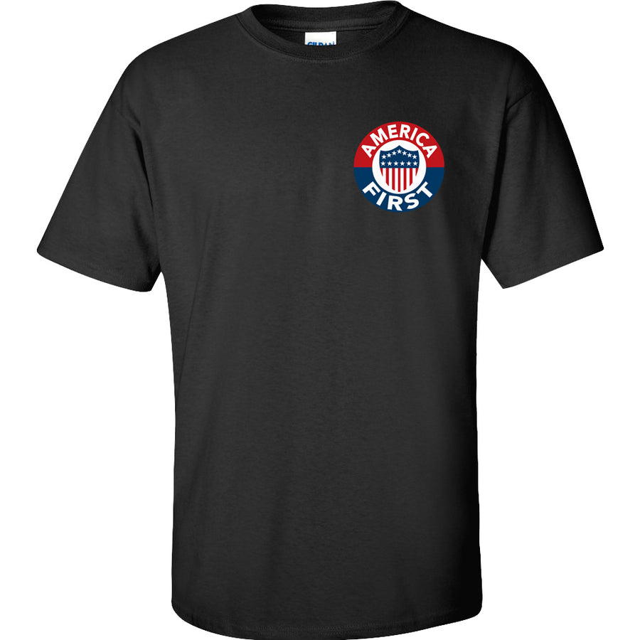 America First! - Black T-Shirt 100% Made in USA