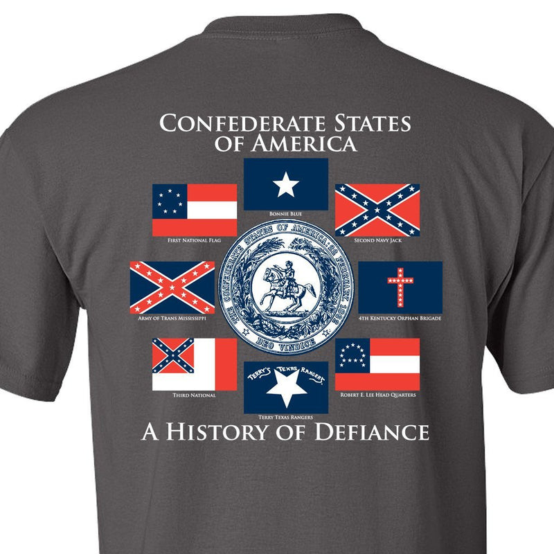 Grey Confederate States Of America T Shirt Gadsden And