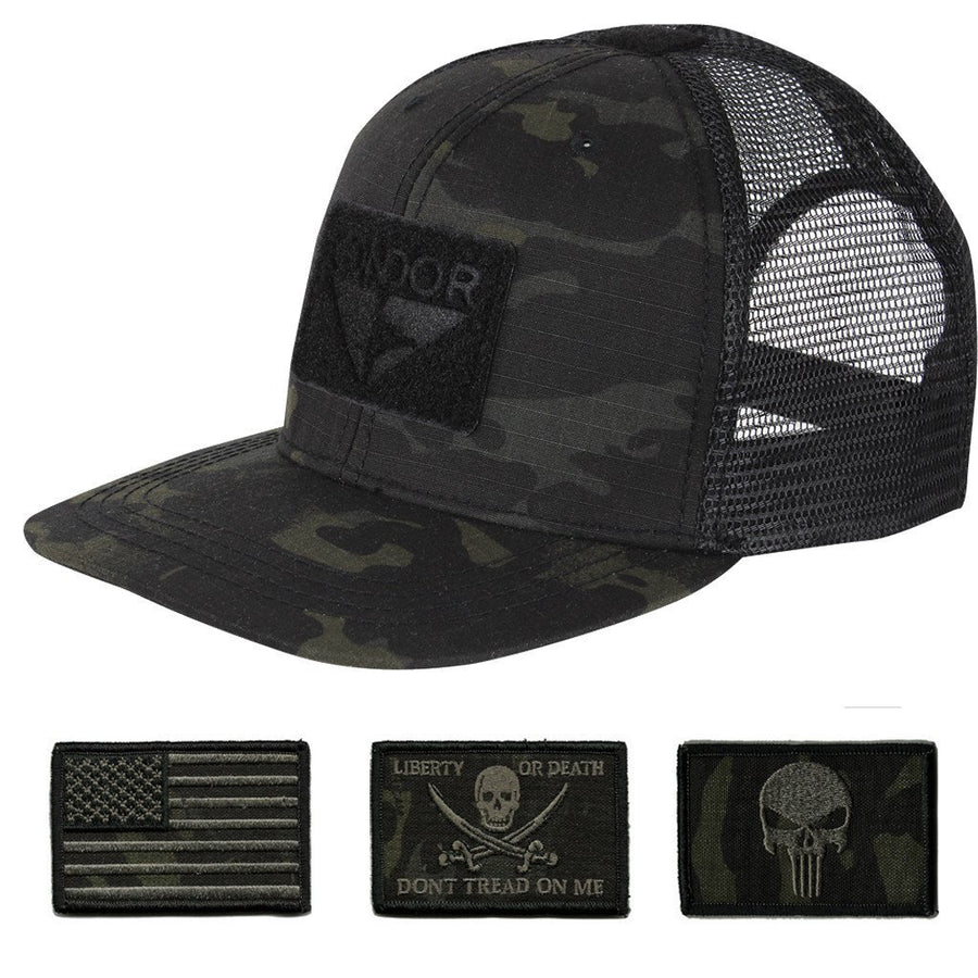 Trucker Mesh Tactical Caps - MULTICAM-Black
